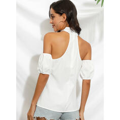 Solid Cold Shoulder 1/2 Sleeves Sexy Blouses
