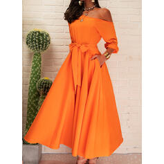 Solid 1/2 Sleeves A-line Skater Party Midi Dresses