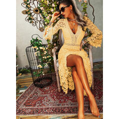 Lace/Solid Long Sleeves/Flare Sleeves A-line Skater Elegant Midi Dresses