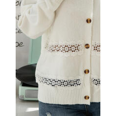 Solid Lace V-Neck Casual Cardigan