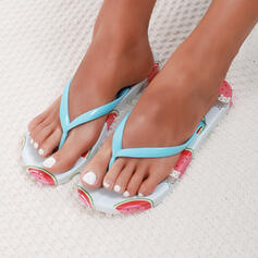 Women's PVC Flat Heel Sandals Flats Flip-Flops Slippers With Solid Color shoes