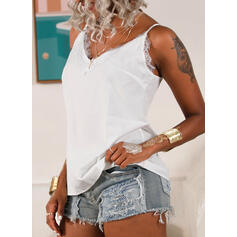 Lace Solid Spaghetti Straps Sleeveless Tank Tops