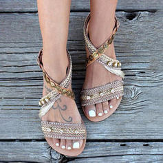 Women's Leatherette Fabric Flat Heel Sandals With Others shoes