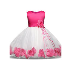 Girls Round Neck Floral Patchwork Cute Party Flower Girl Dress