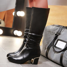 Women's PU Low Heel Chunky Heel Cone Heel Boots Knee High Boots High Top With Solid Color shoes