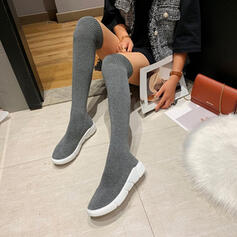 Women's Sparkling Glitter Flat Heel Over The Knee Boots Round Toe Sock Boots With Solid Color shoes