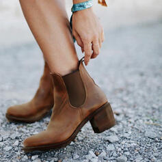 Women's PU Chunky Heel Ankle Boots Round Toe With Splice Color shoes