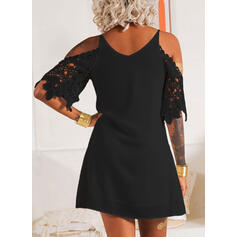 Lace/Solid 3/4 Sleeves Shift Above Knee Little Black/Party/Elegant Dresses