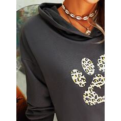 Animal Print Leopard Pockets Long Sleeves Hoodie