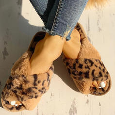 Women's PU Flat Heel Slippers With Faux-Fur shoes