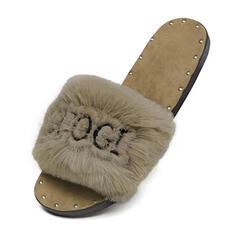 Women's Fabric Flat Heel Slippers With Rivet Faux-Fur shoes