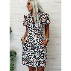 Print/Leopard Short Sleeves Bodycon Knee Length Casual Pencil Dresses