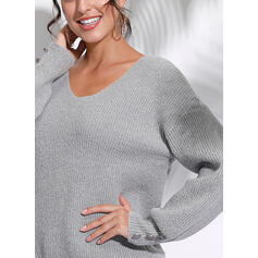 Solid V-Neck Long Sleeves Button Up Casual Knit Blouses