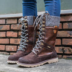 Women's PU Chunky Heel Mid-Calf Boots Martin Boots Round Toe With Lace-up Splice Color shoes