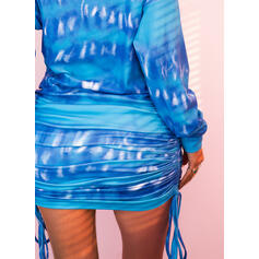 Tie Dye Long Sleeves Bodycon Above Knee Casual Sweatshirt Dresses