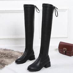 Women's Suede PU Low Heel Chunky Heel Boots Knee High Boots Over The Knee Boots Snow Boots High Top With Bowknot Lace-up Solid Color shoes
