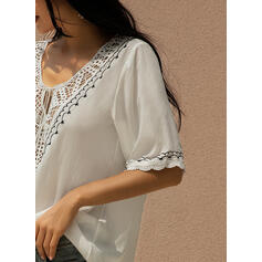 Solid Lace V-Neck 3/4 Sleeves Casual Knit Blouses