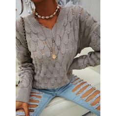Solid V-Neck Casual Sweaters