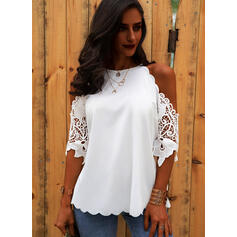 Solid Lace Cold Shoulder 3/4 Sleeves Casual Blouses