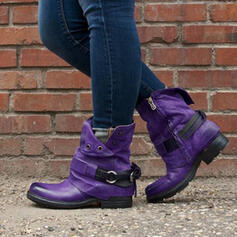 Women's Leatherette Low Heel Boots Ankle Boots Round Toe With Buckle shoes