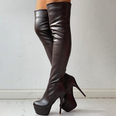 Women's PU Chunky Heel Over The Knee Boots Heels Round Toe With Zipper Solid Color shoes