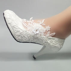 Leatherette Stiletto Heel Closed Toe Pumps With Beading Stitching Lace