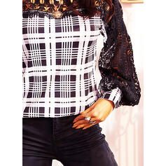 Lace Plaid Round Neck Lantern Sleeve Long Sleeves Casual Blouses