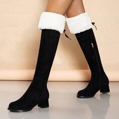 Women's Leatherette Chunky Heel Mid-Calf Boots Pointed Toe With Zipper shoes