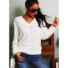 Solid Heart V-Neck Casual Sweaters