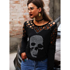 Print Sequins Round Neck Long Sleeves Casual Blouses