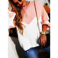 Color Block Beaded Round Neck Casual Sweaters