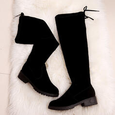 Women's Suede Chunky Heel Boots Over The Knee Boots Snow Boots With Bowknot Lace-up Solid Color shoes