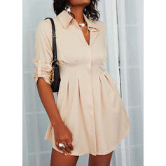 Solid 1/2 Sleeves Sheath Above Knee Casual Shirt Dresses