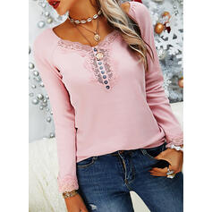 Solid Lace V-Neck Long Sleeves Button Up Casual Knit Blouses