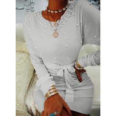 Solid/Beaded Long Sleeves Bodycon Above Knee Elegant Dresses