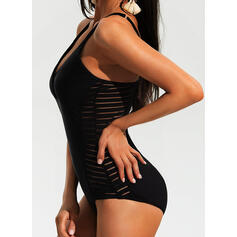 Solid Color Strap Sports One-piece Swimsuits