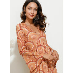 Print Long Sleeves/Flare Sleeves A-line Skater Boho/Vacation Maxi Dresses