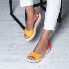 Women's PU Flat Heel Sandals Flats Peep Toe With Others shoes
