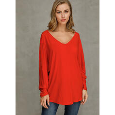 Solid V-Neck Long Sleeves Button Up Casual Basic T-shirts