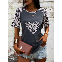 Print Leopard Round Neck Short Sleeves Casual Blouses