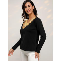 Print Color Block V-Neck Long Sleeves Casual Knit T-shirts