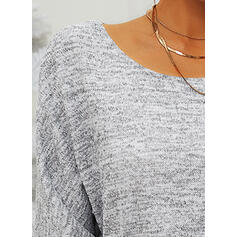 Solid Pocket Round Neck Casual Sweaters