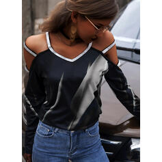 Print Sequins Cold Shoulder Long Sleeves Casual Sexy Blouses
