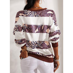 Print Leopard V-Neck Long Sleeves Sweatshirt