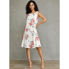 Print/Floral Sleeveless Shift Knee Length Casual/Vacation Dresses