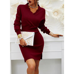 Solid Long Sleeves Bodycon Knee Length Little Black/Elegant Sweater/Pencil Dresses