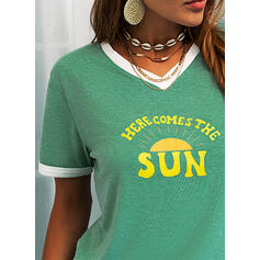 Print Letter V-Neck Short Sleeves Casual T-shirts