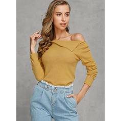 Solid Ribbed Boat Neck Casual Tight Sweaters