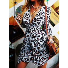 Leopard Long Sleeves/Puff Sleeves Bodycon Above Knee Party/Elegant Dresses