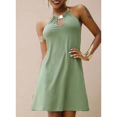 Solid Sleeveless Shift Above Knee Casual Dresses